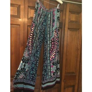 Boho hippie flare patterned pants w/ drawstring